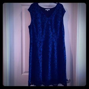 Blue and black damask A-line dress with lace hem